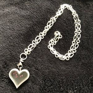 """Origami Owl necklace Heart with Crystals 36"""" long"""